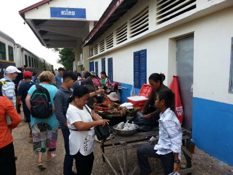 Food vendors at Takeo Railway Station
