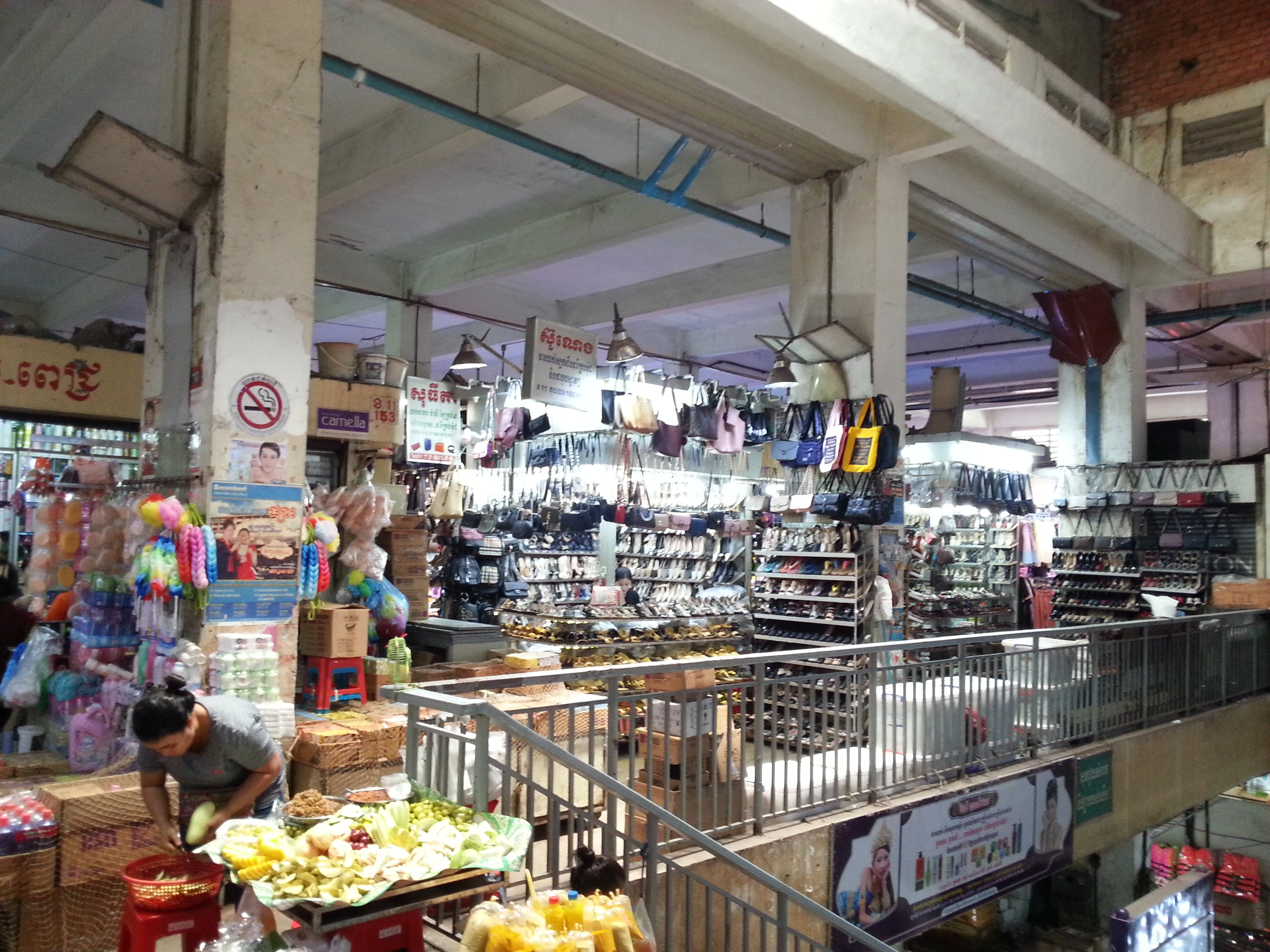 Clothes and accessories are sold on the first and second floors of Orussey Market