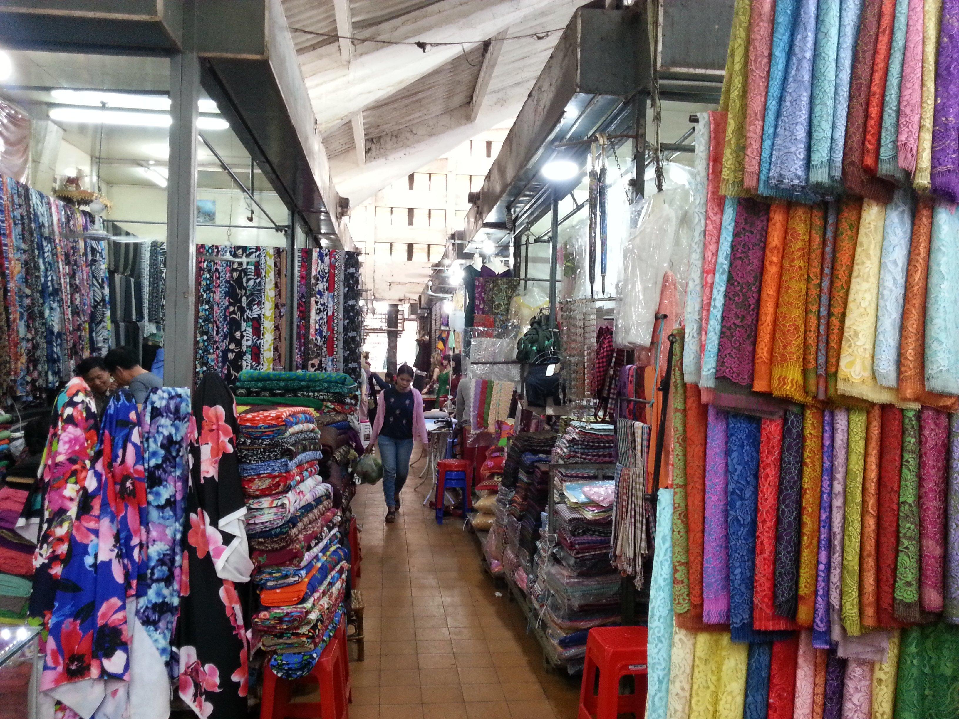 Fabrics sold at Battamabang Central Market