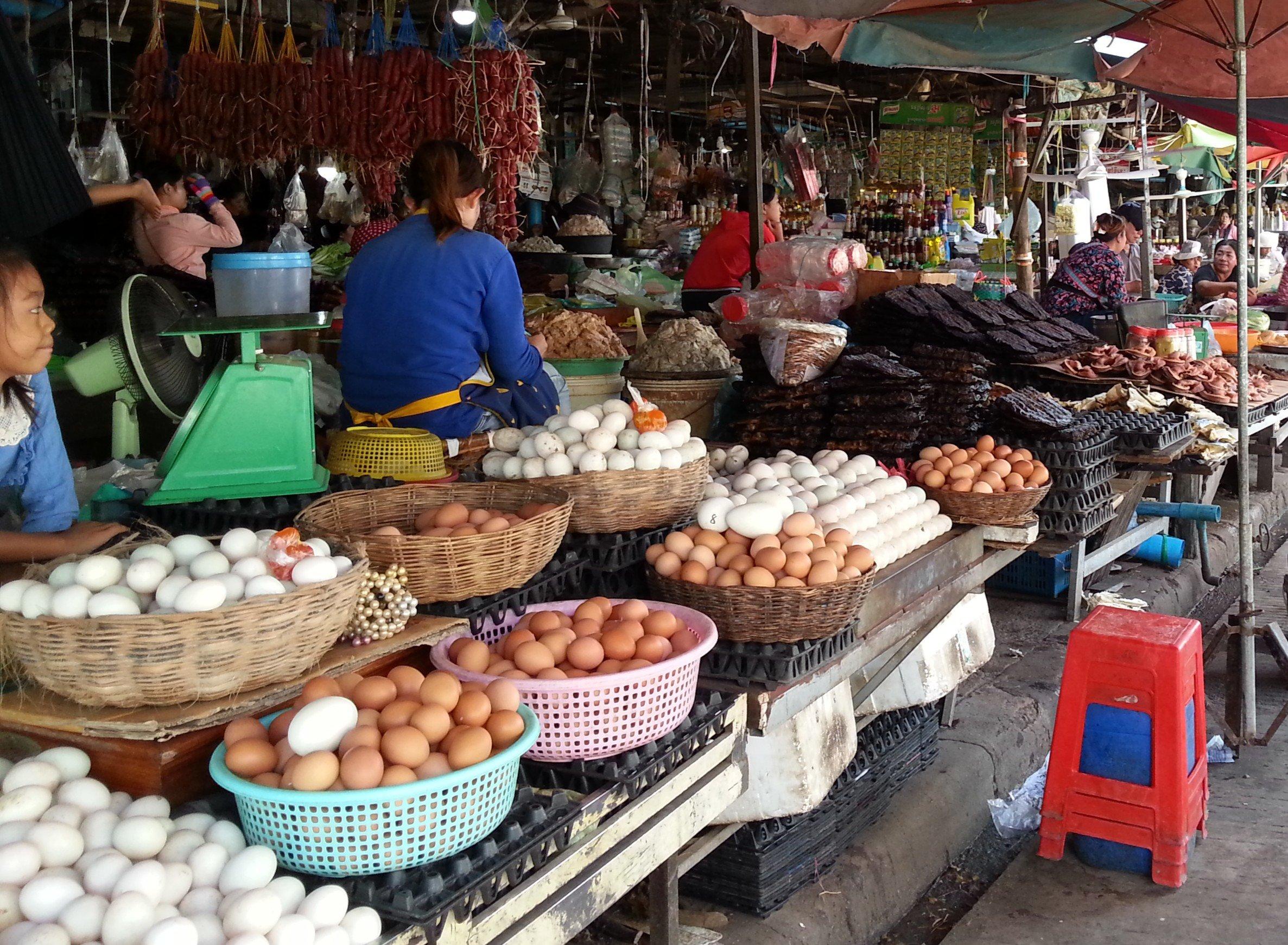 Plenty of eggs on sale at Battambang Central Market
