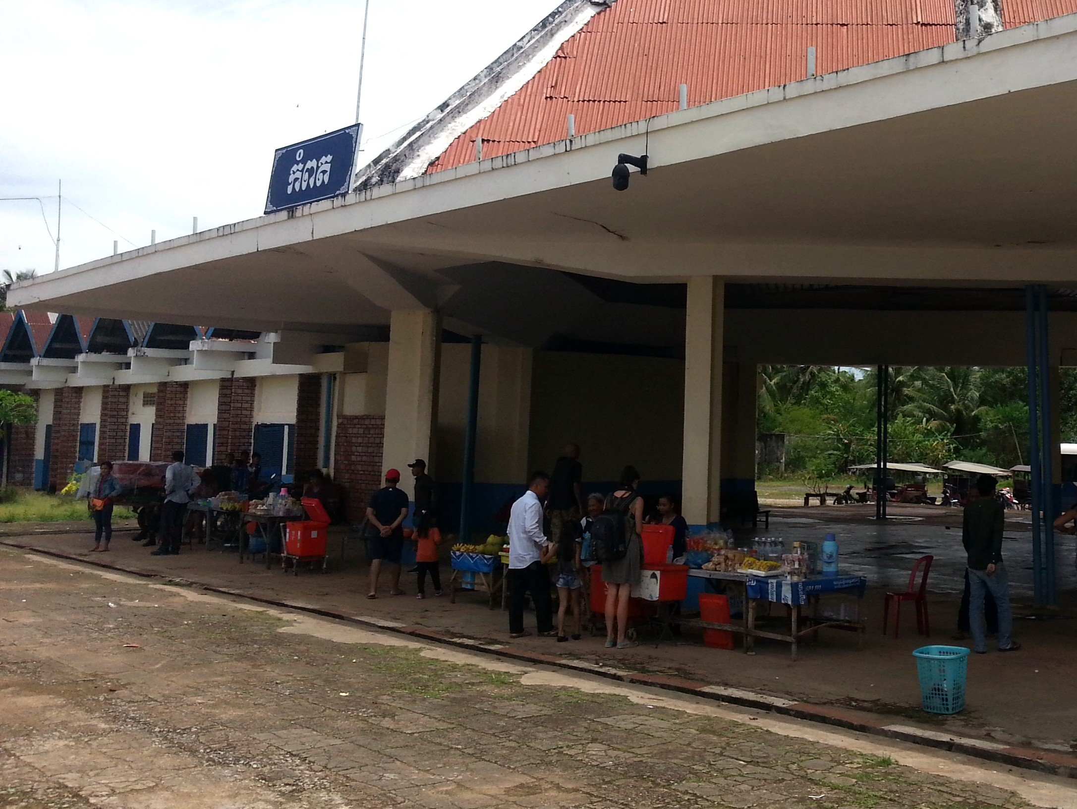 Food vendors at Kampot Train Station