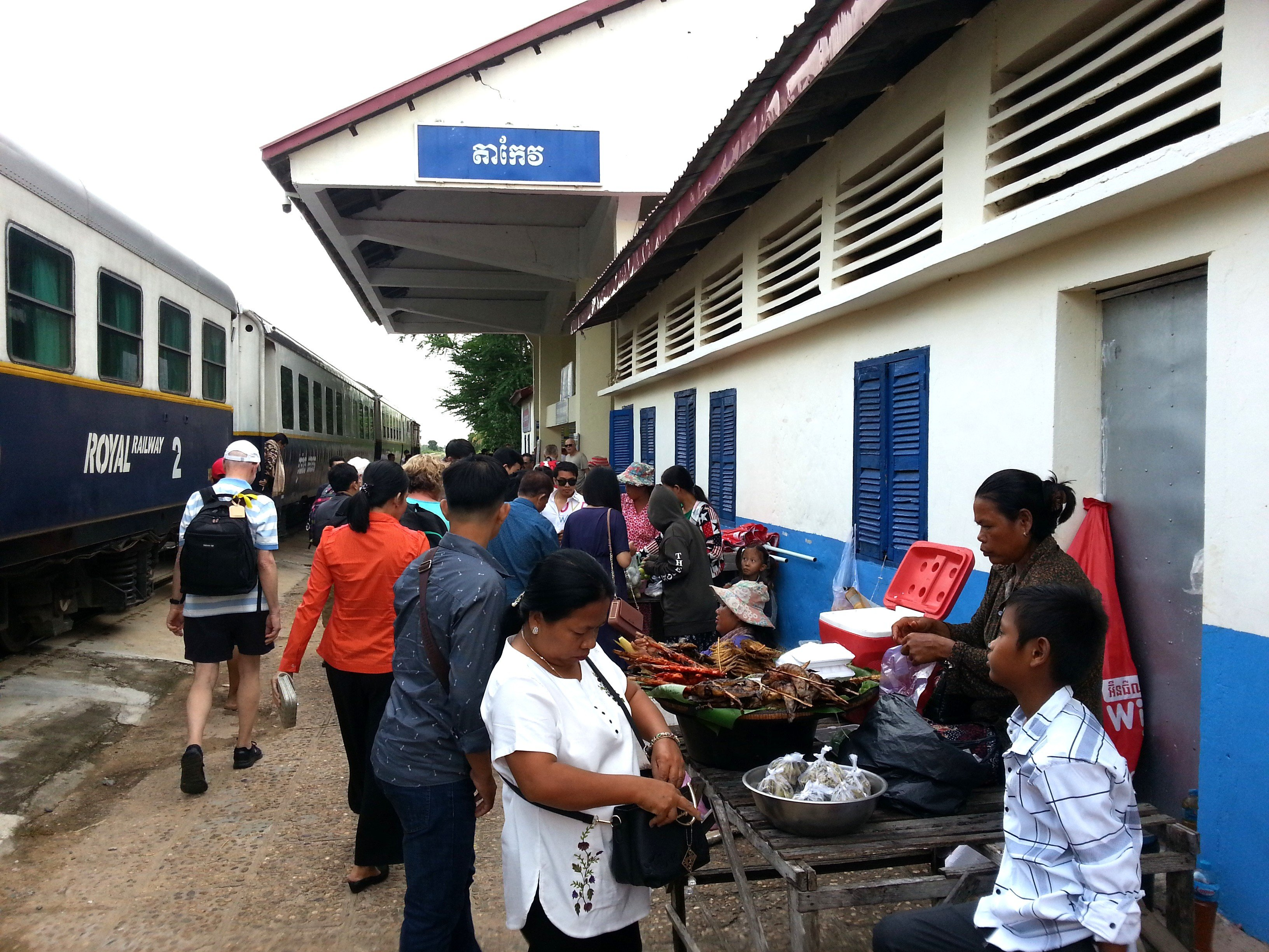 Food vendors at Takeo Train Station