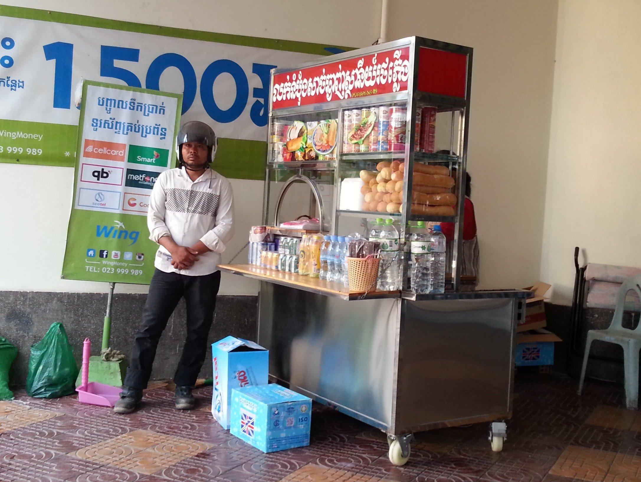Sandwich stand outside Phnom Penh Railway Station