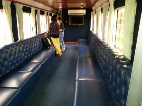 Sofa style seats on a Cambodia train