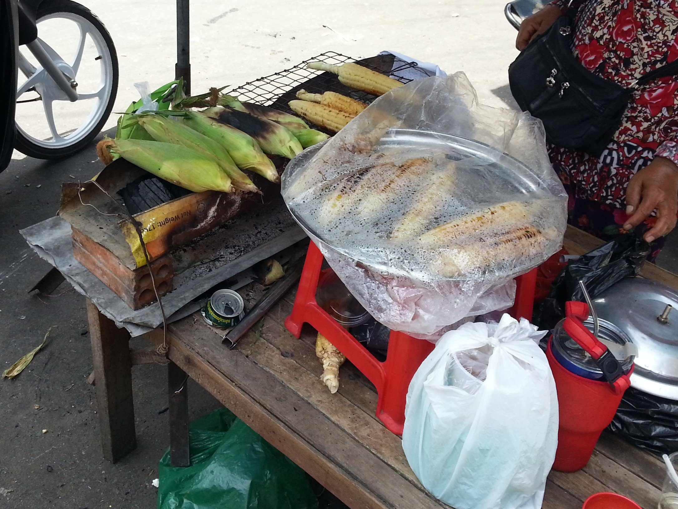 Grilled sweetcorn are popular throughout South East Asia