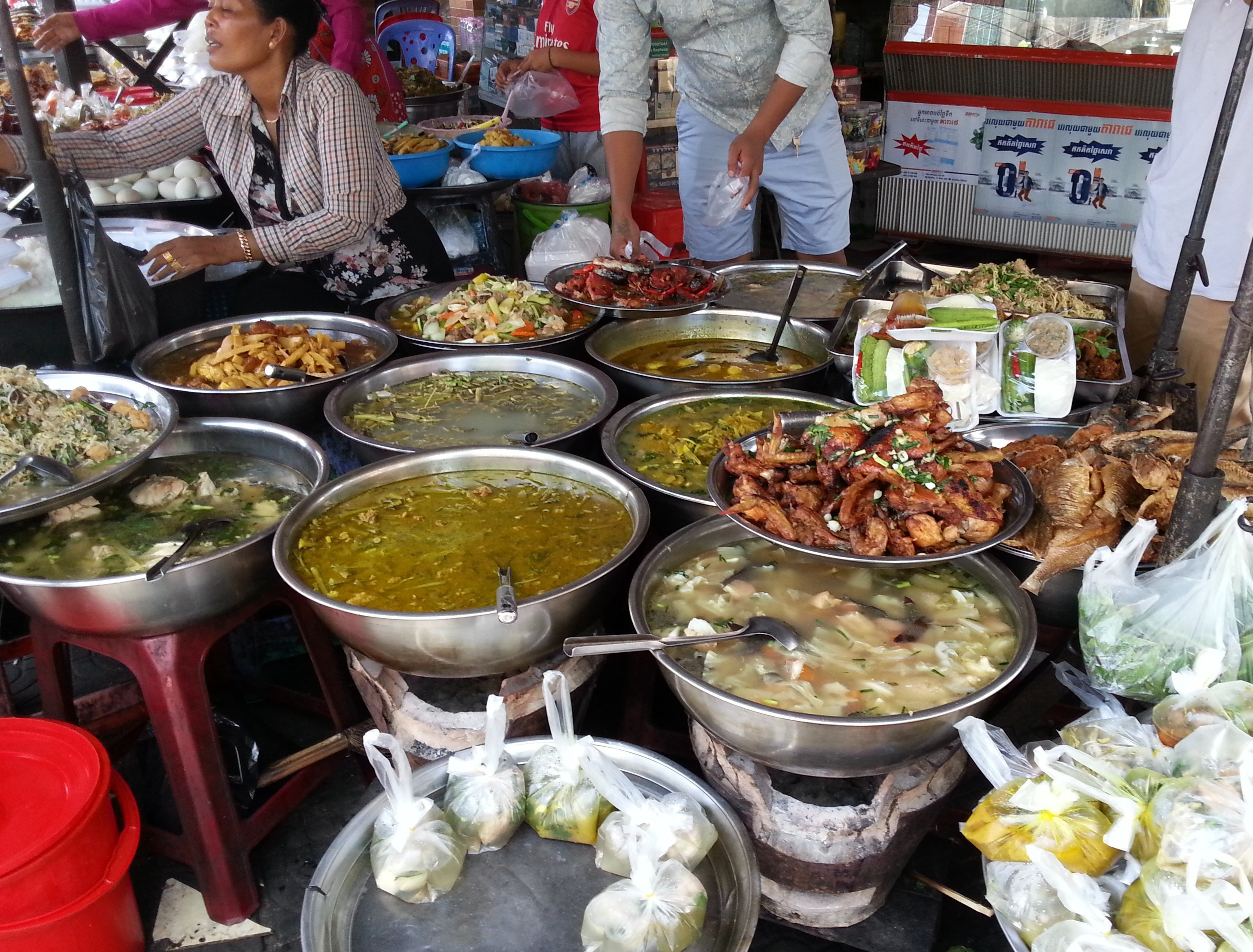 Soups and stews on sale at Phnom Penh Old Market