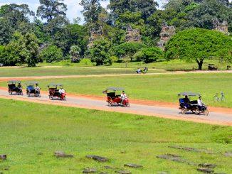 Tuk-tuks in Angkor Archaeological Park